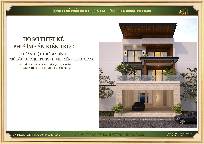 Mẫu thiết kế biệt thự hiện đại 3 tầng đẹp tại Bắc Giang - CĐT Anh Trung
