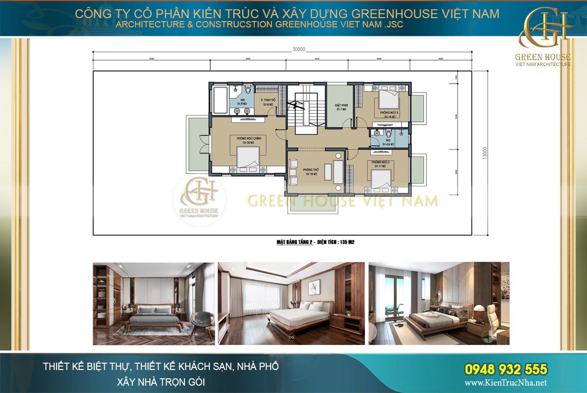 Mặt bằng công năng tầng 2 của biệt thự tân cổ điển 2 tầng tại Bắc Giang