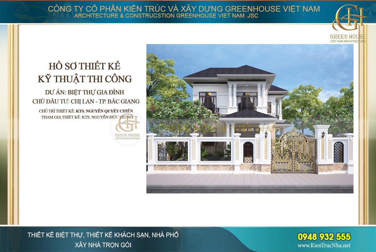 Thiết kế biệt thự 2 tầng tân cổ điển đẹp tại Bắc Giang - CĐT Chị Lan