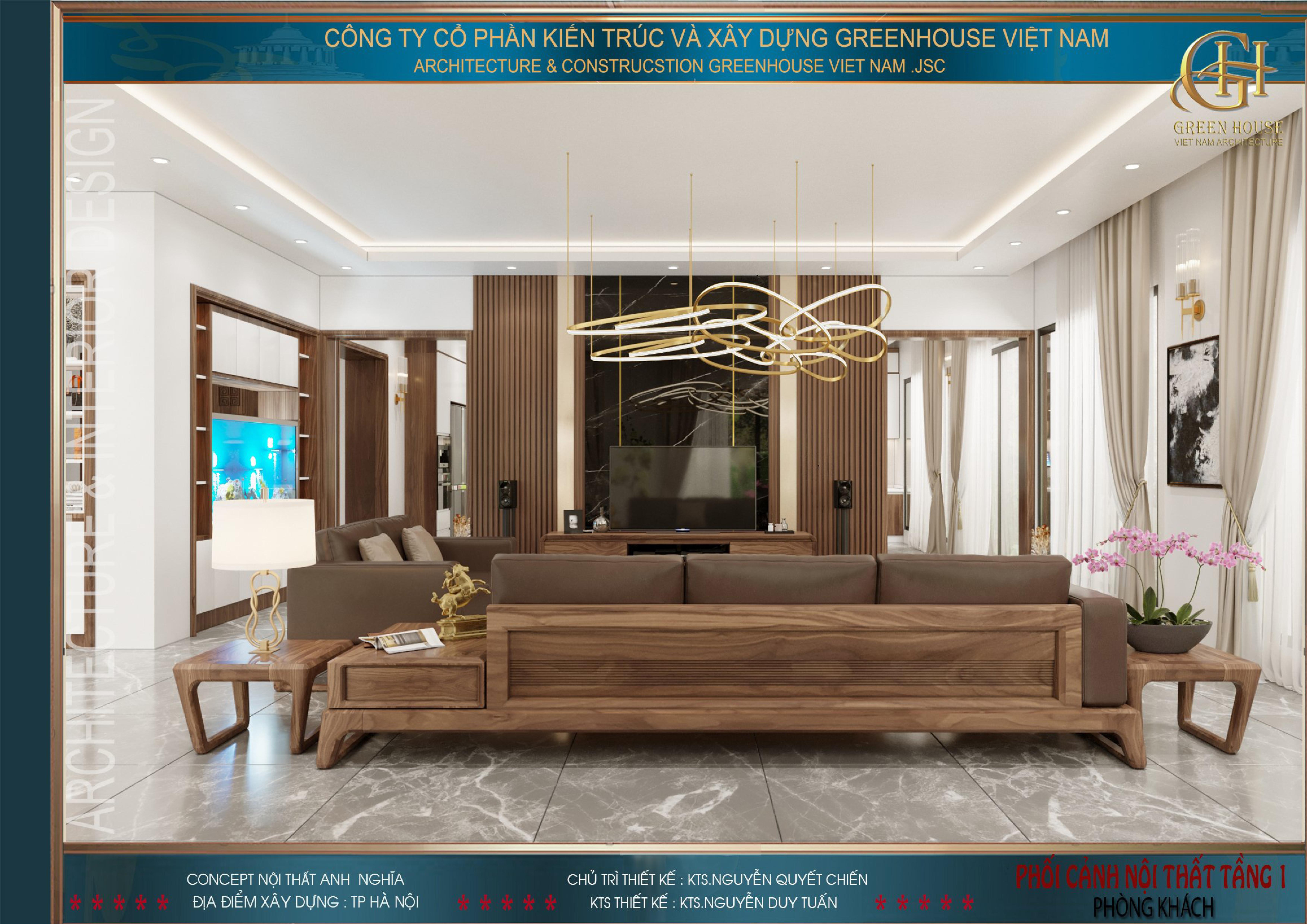 Tổng quát không gian phòng khách của biệt thự hiện đại 3 tầng tại Hà Nội