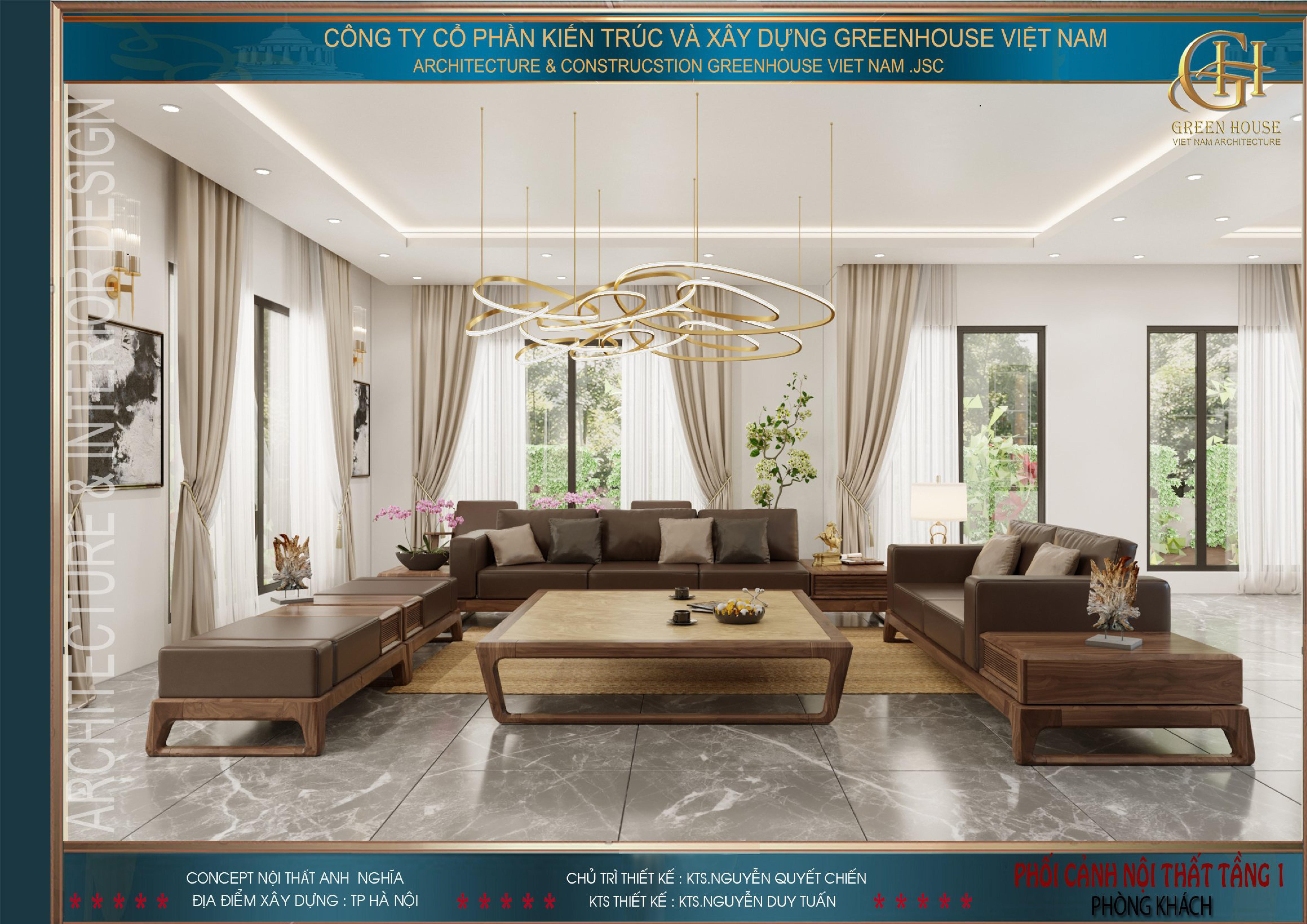 Tông màu nâu nhẹ nhàng được lựa chọn làm chủ đạo cho nội thất phòng khách