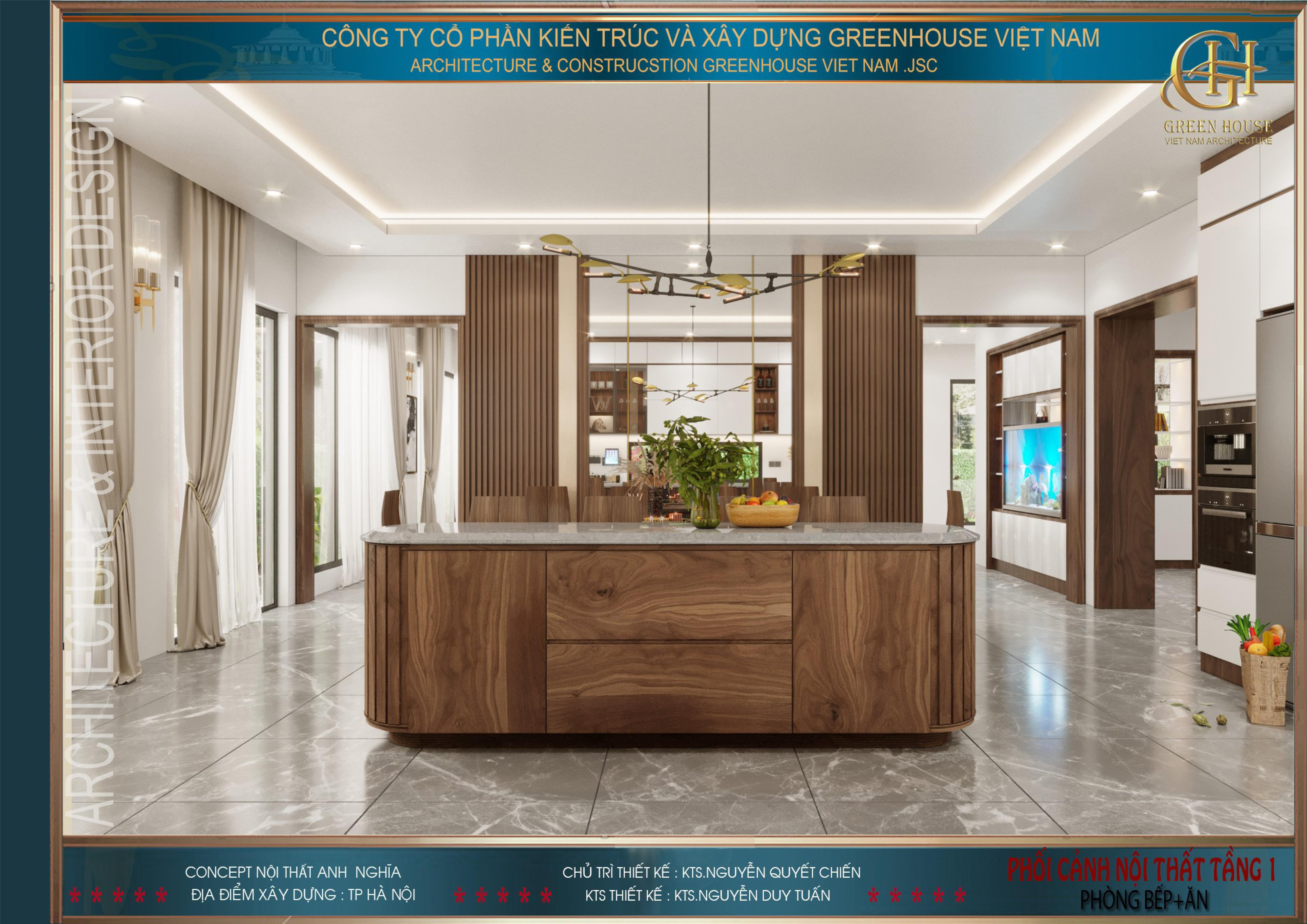 Nội thất phòng bếp và phòng ăn của biệt thự hiện đại được ưu tiên sử dụng vật liệu gỗ công nghiệp có màu sắc, kiểu dáng hấp dẫn