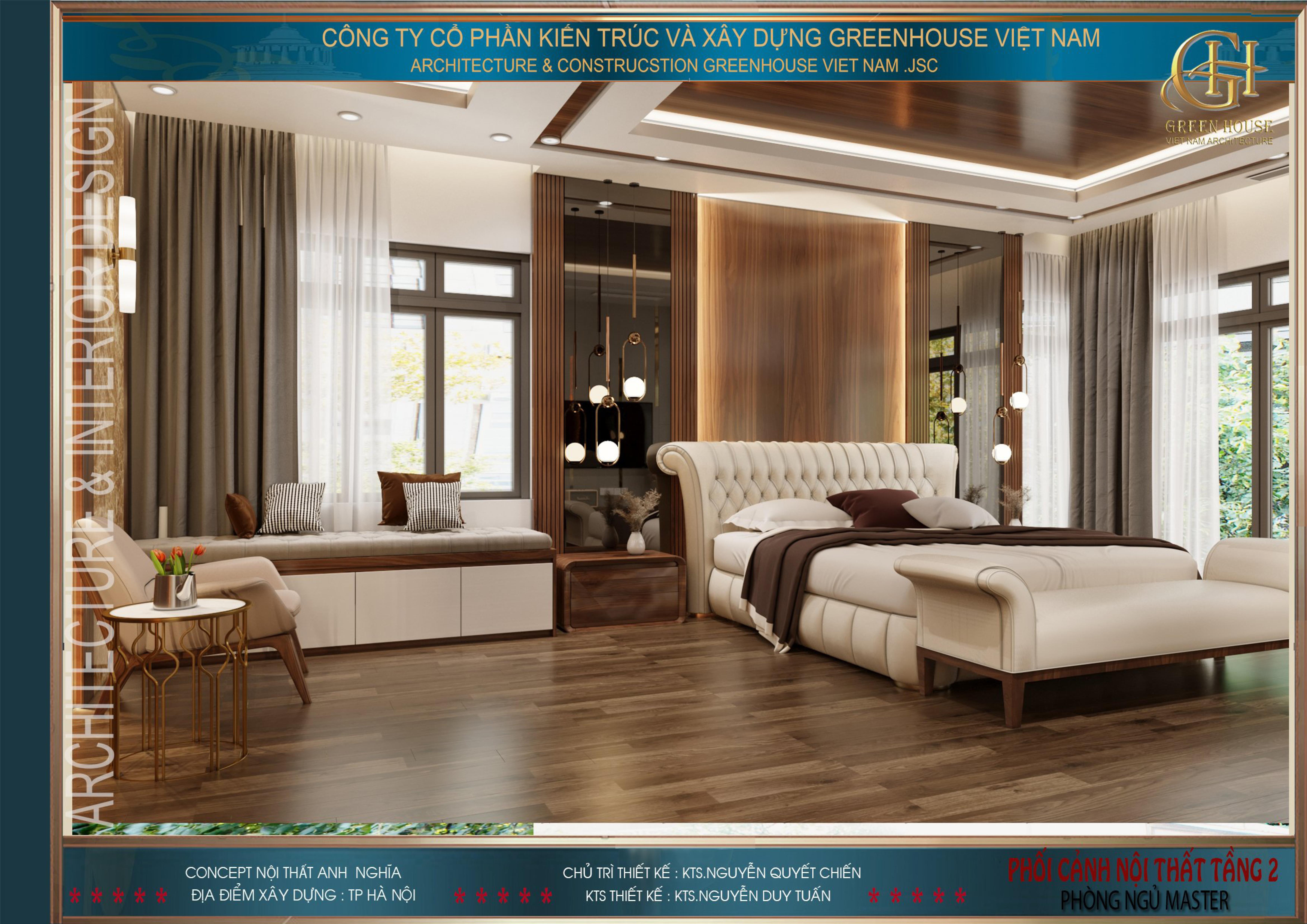 Phòng ngủ master trong mẫu thiết kế nội thất biệt thự hiện đại 3 tầng