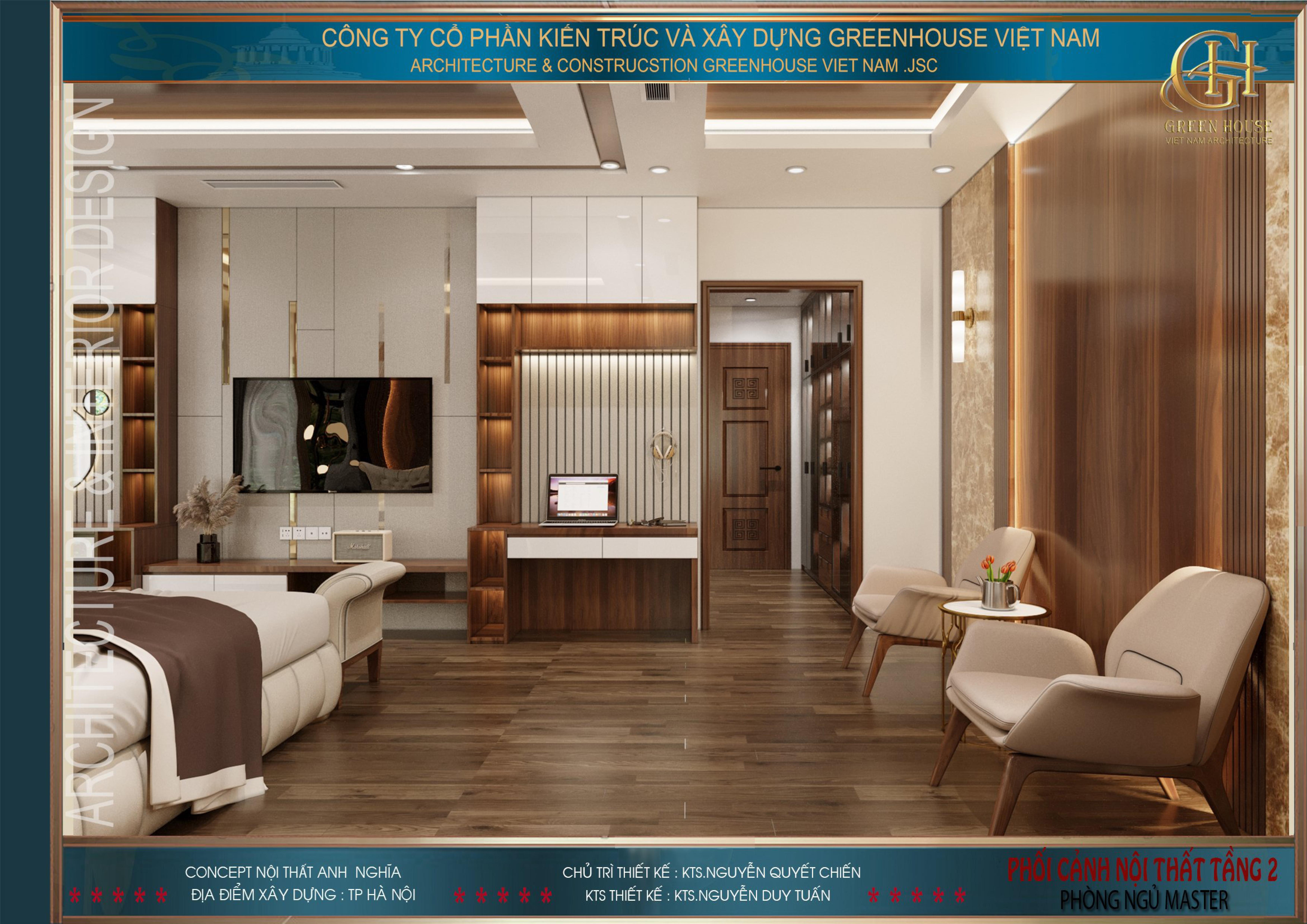 Phòng ngủ master được thiết kế đầy đủ các vật dụng cần thiết
