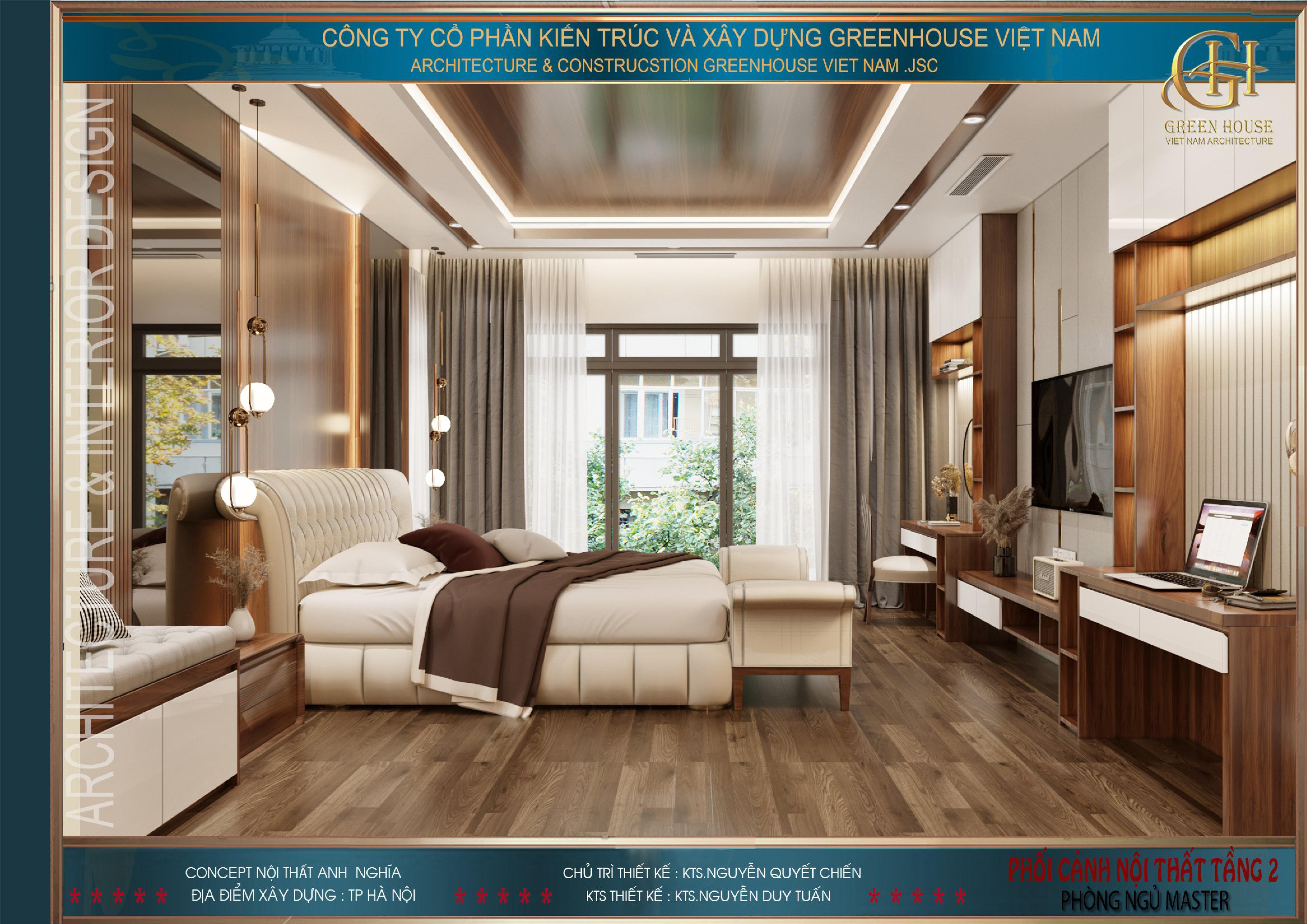 Phòng ngủ với cửa sổ lớn có tầm nhìn ra ngay ngoài sân trở thành điểm nhấn đắt giá cho cả công trình, tựa như phòng ngủ cao cấp trong các khách sạn nổi tiếng