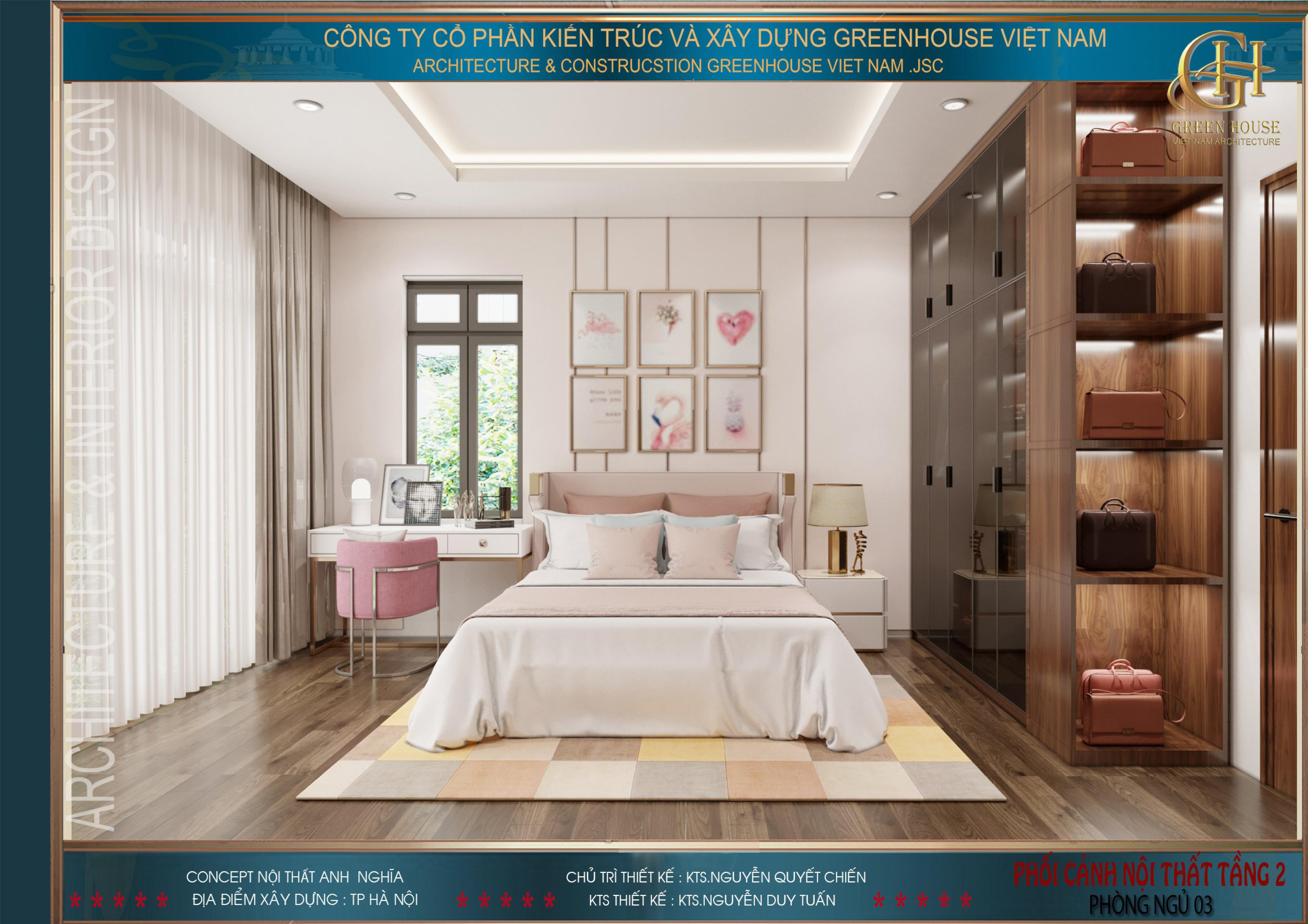 Phòng ngủ con gái với tone màu hồng phấn lãng mạn