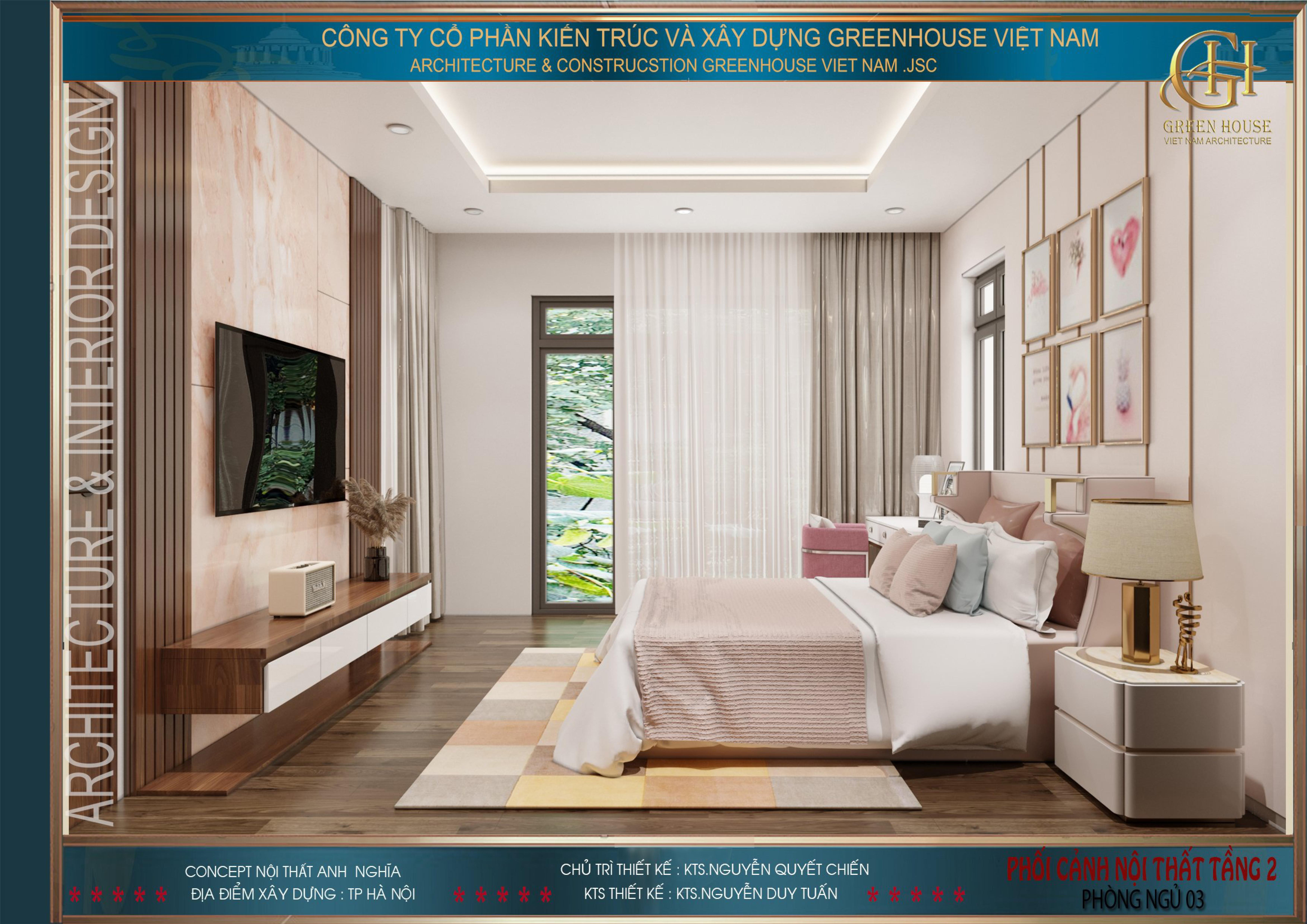 Phòng ngủ được thiết kế đầy đủ nội thất cần thiết