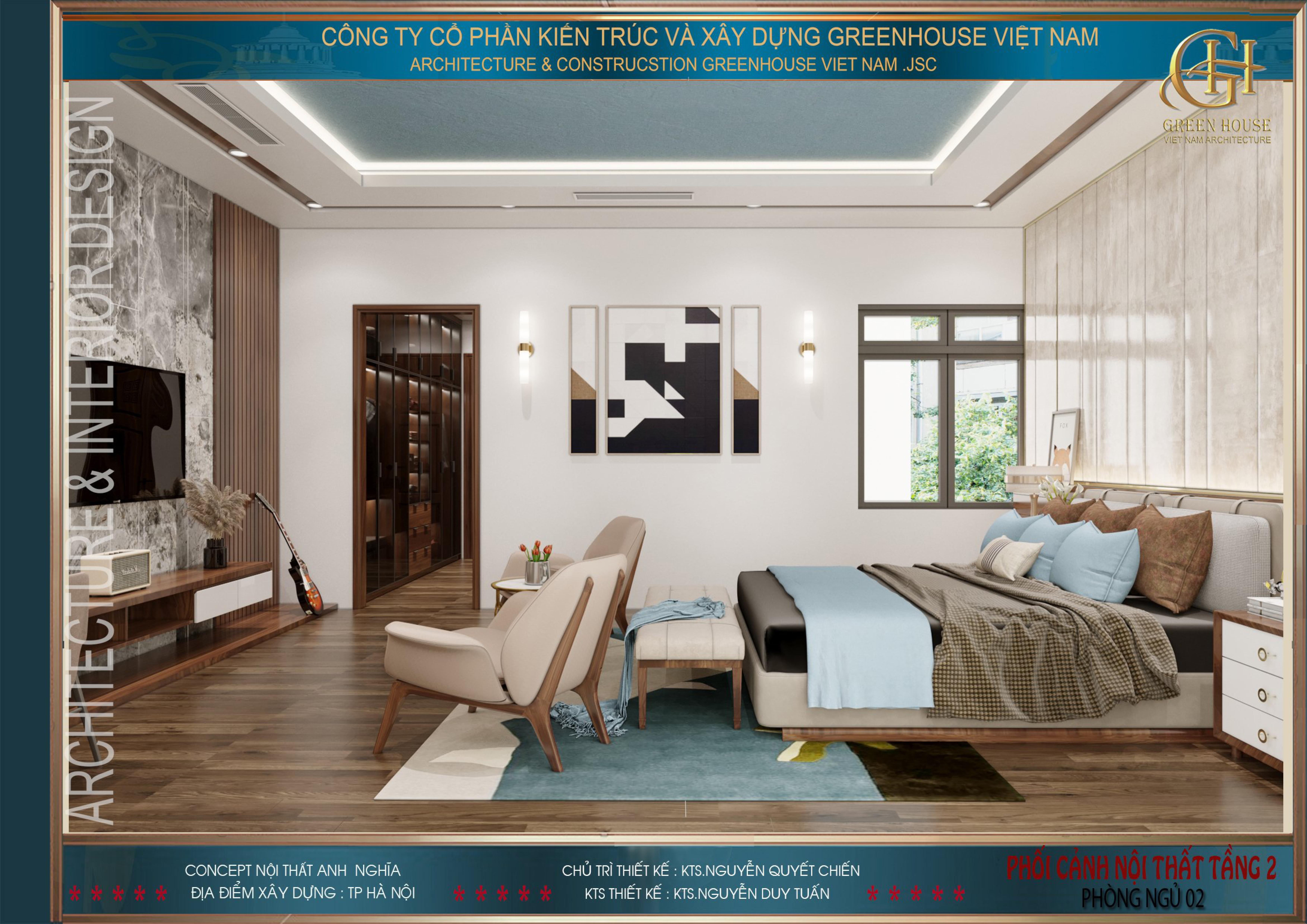 Phòng ngủ mang vẻ đẹp lịch lãm, mạnh mẽ và nam tính hơn