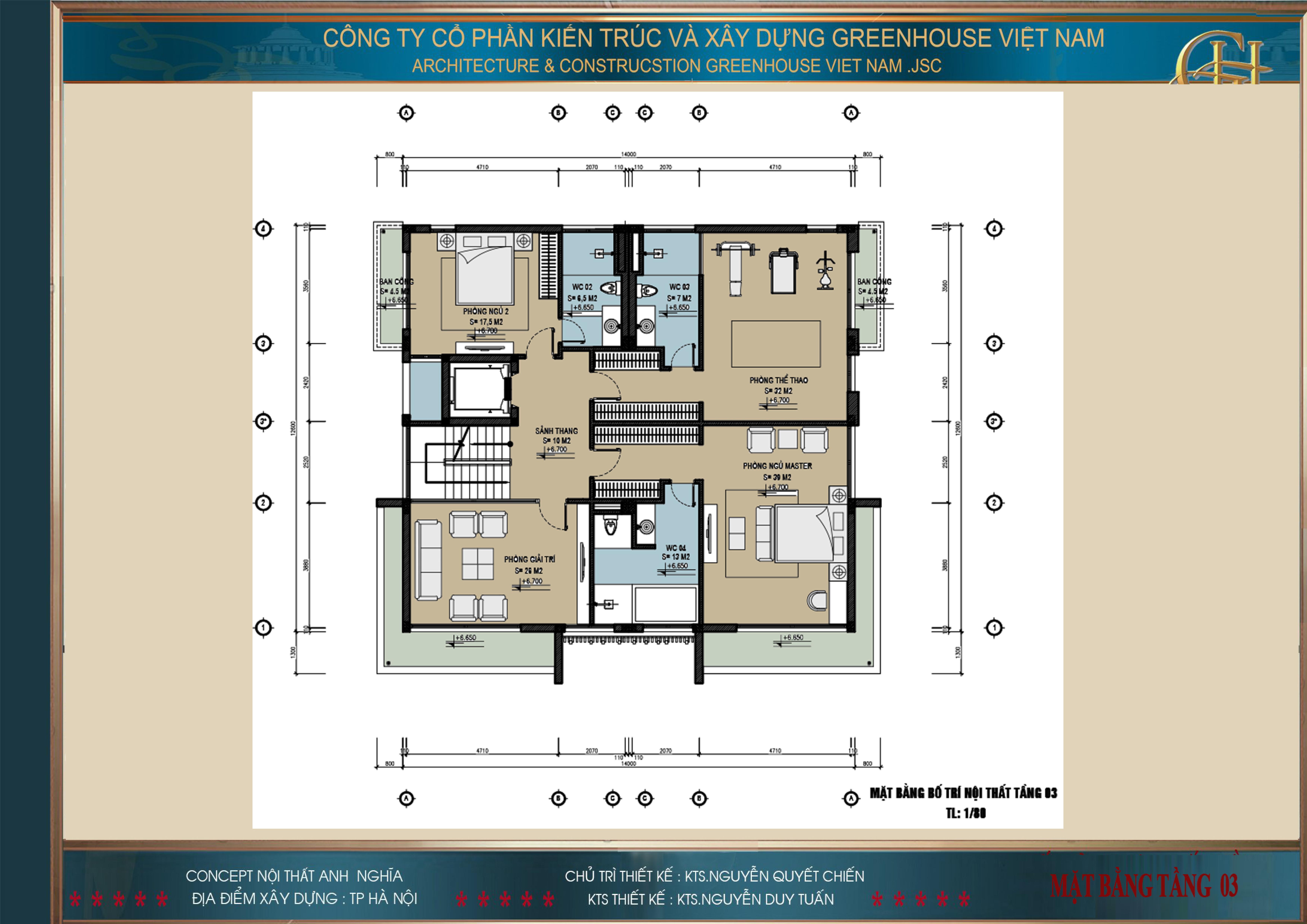 Mặt bằng công năng sử dụng của tầng 3 biệt thự hiện đại 3 tầng