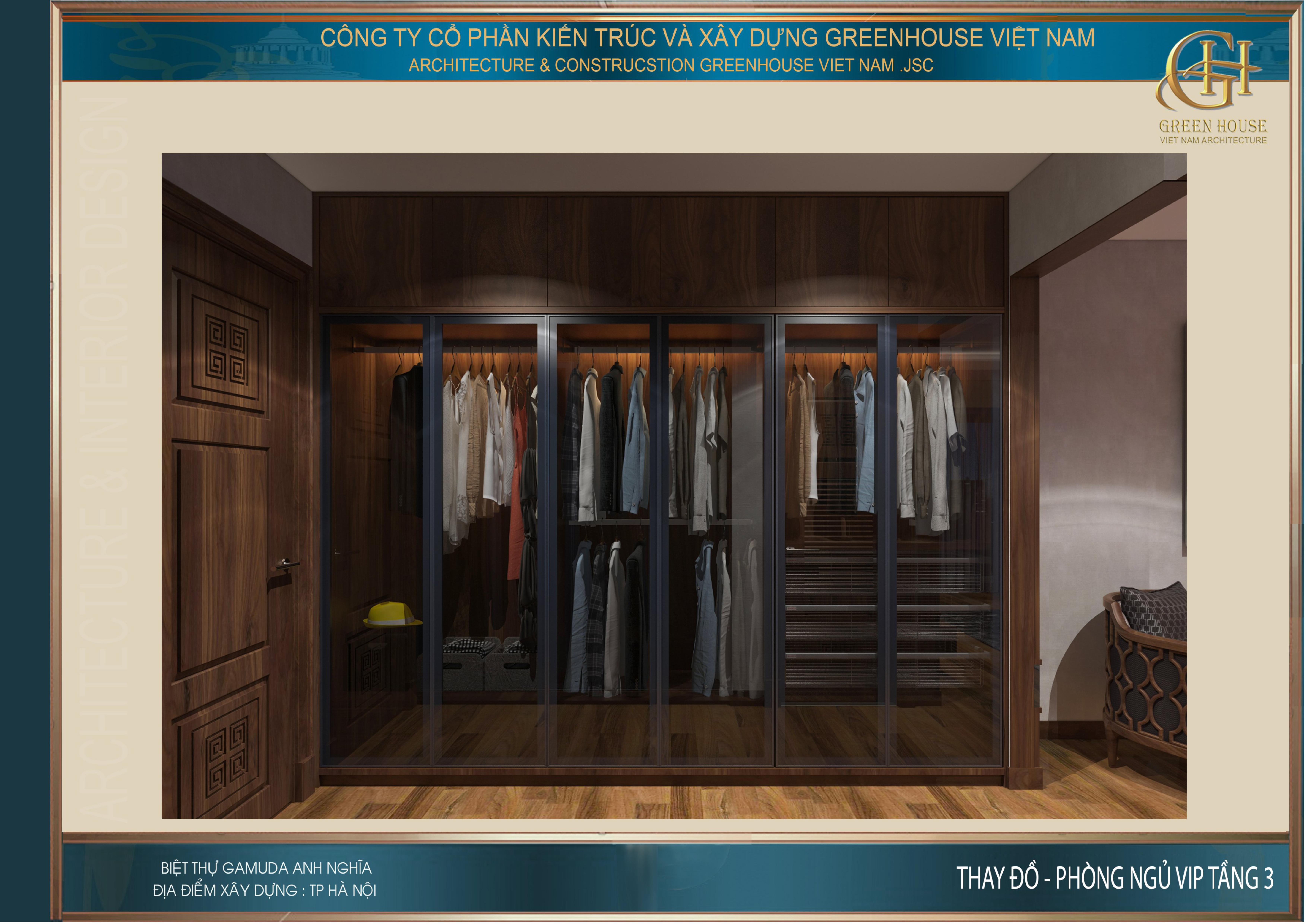 Thiết kế không gian phòng thay đồ cho phòng ngủ VIP tầng 3