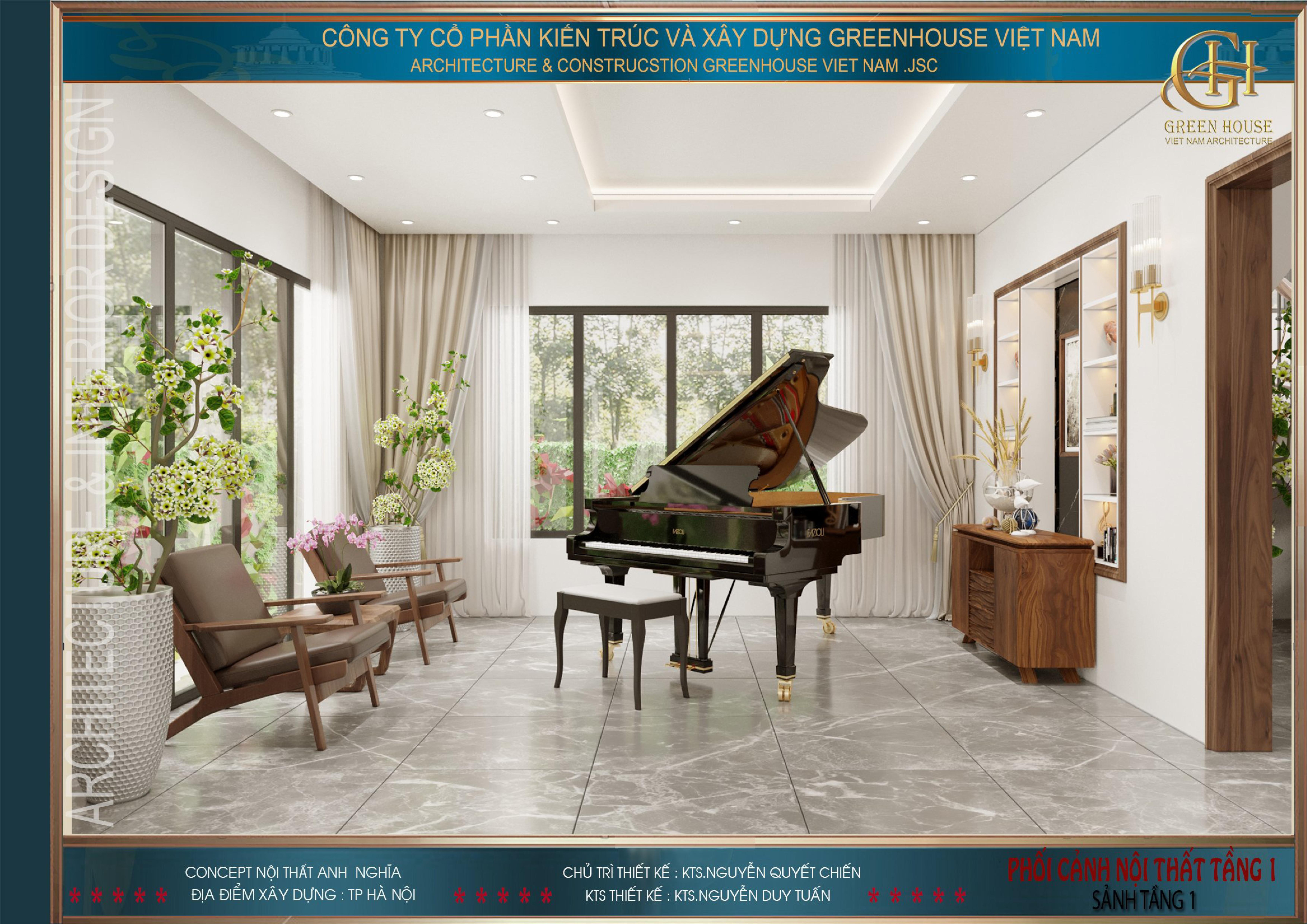 Đại sảnh với diện tích 21m2, được bố trí khu vực chơi đàn, phục vụ những buổi thưởng nhạc của gia chủ