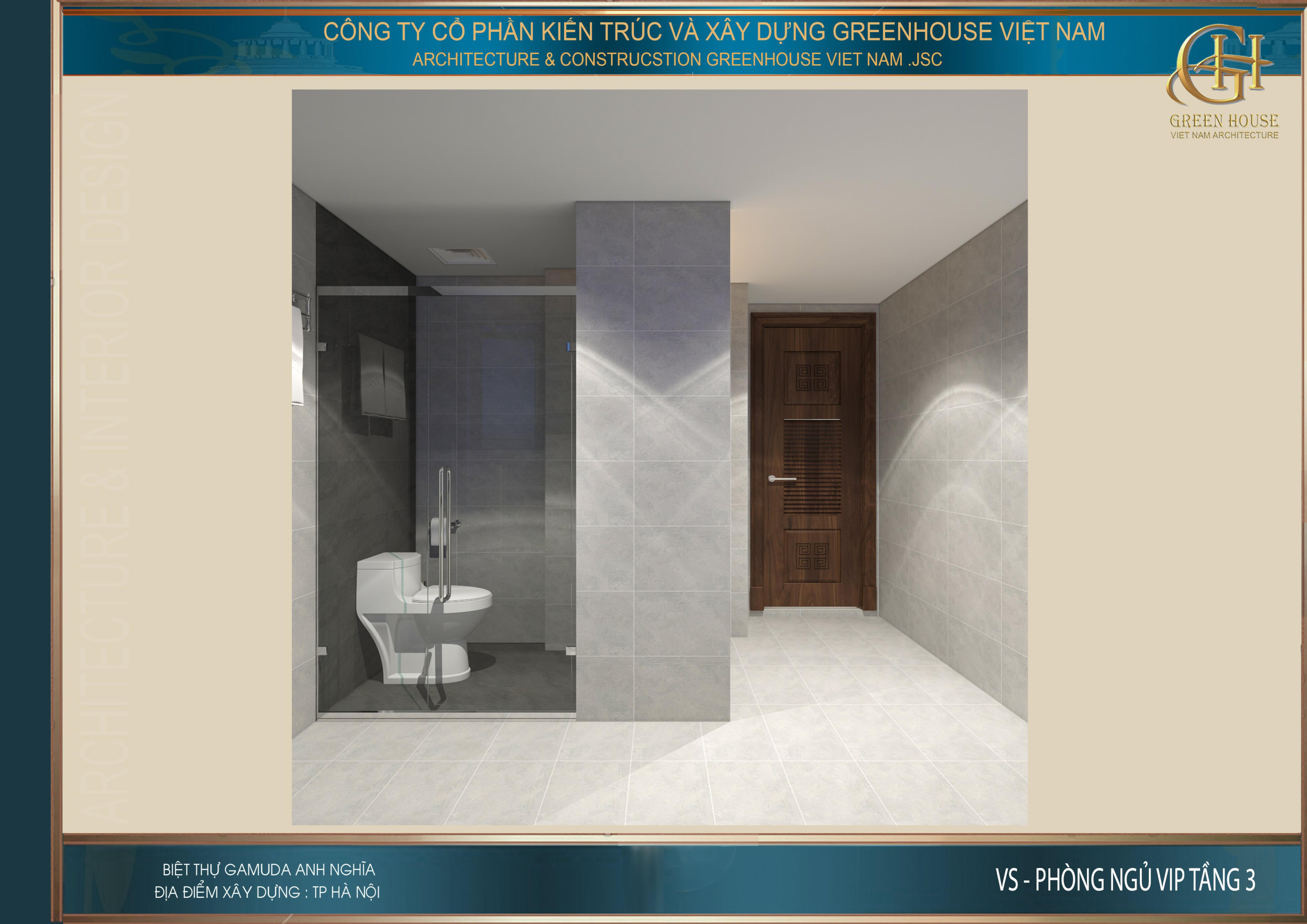 Thiết kế không gian phòng vệ sinh cho phòng ngủ VIP tầng 3