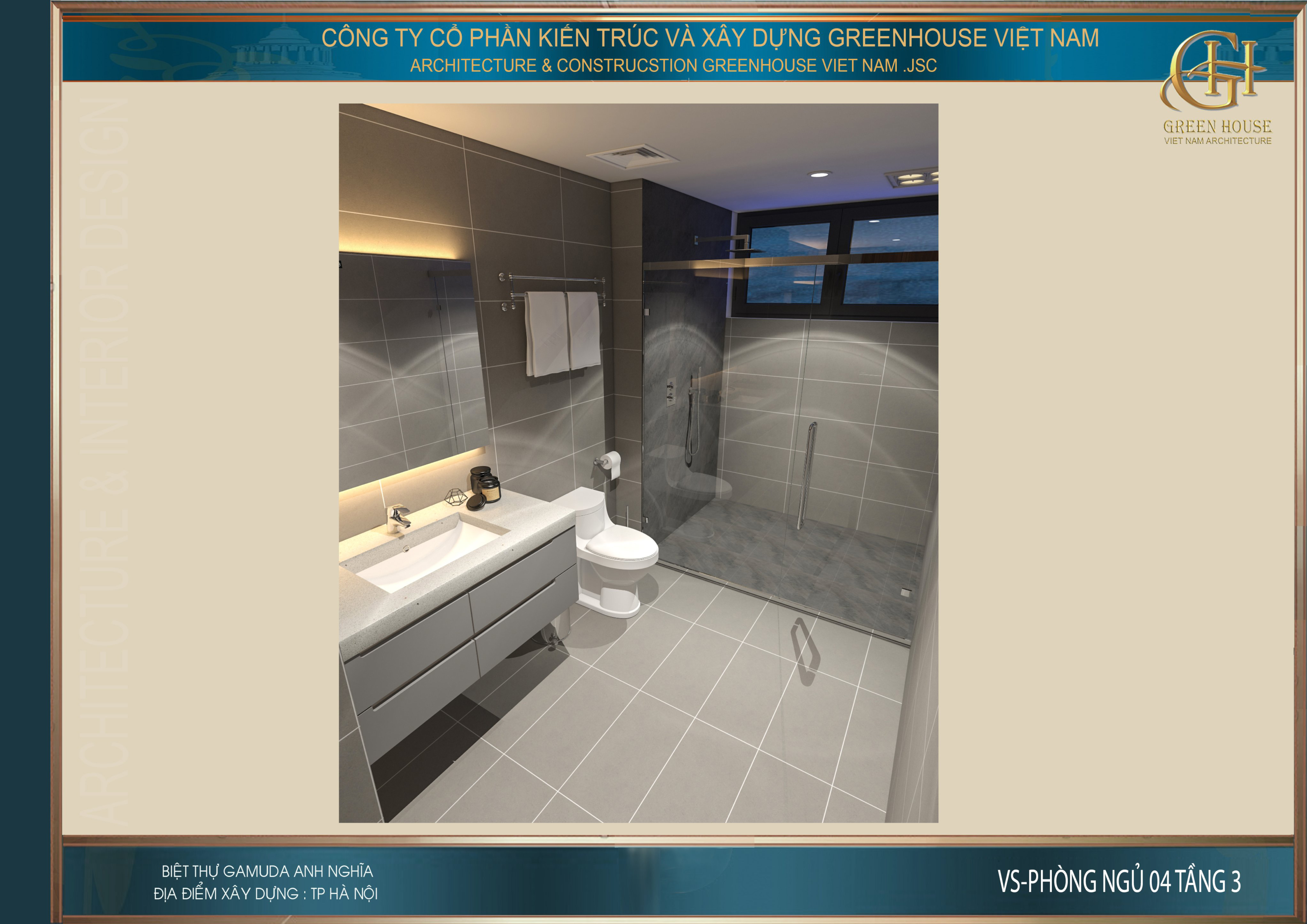 Thiết kế phòng vệ sinh của phòng ngủ tại tầng 3