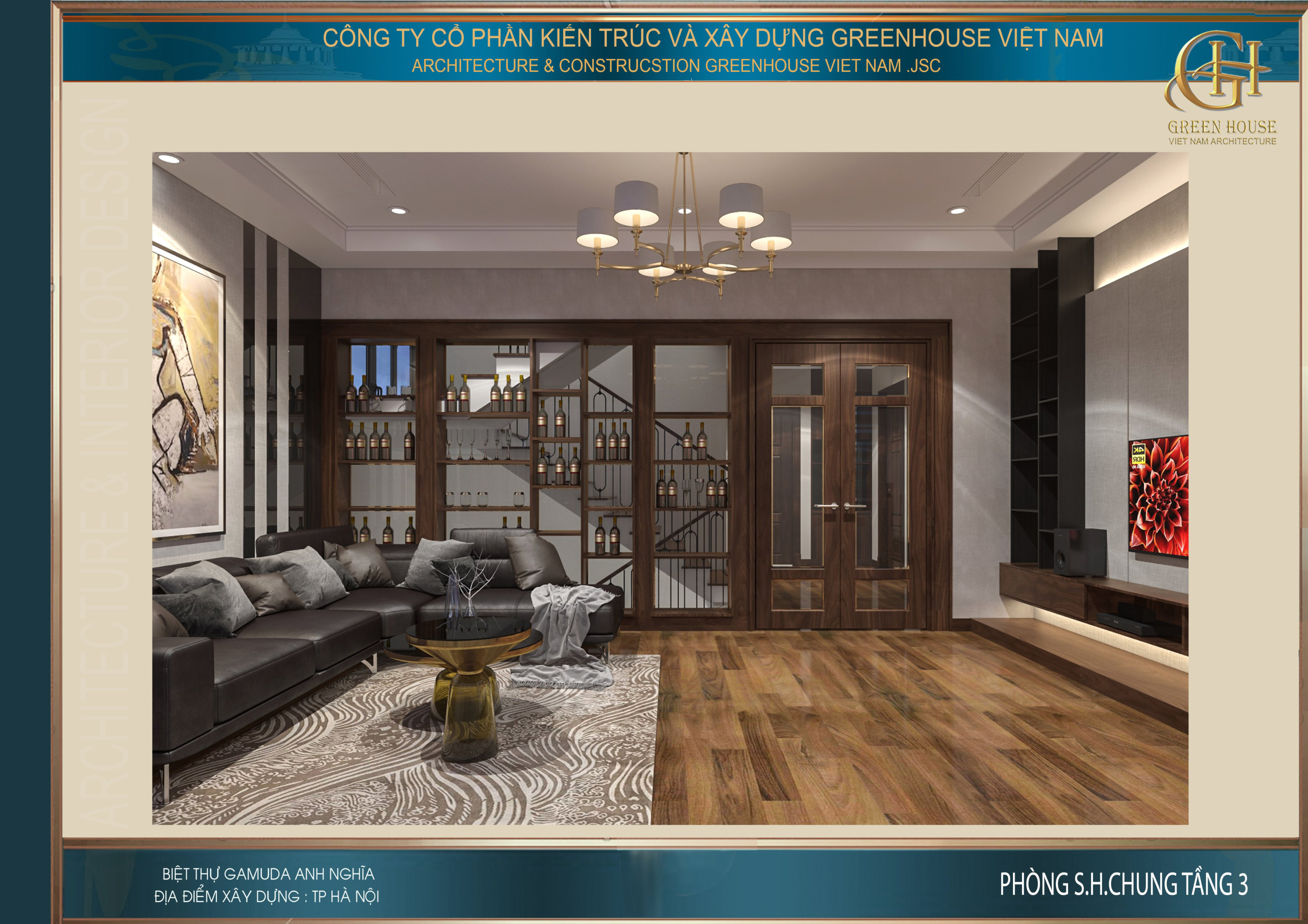 Thiết kế phòng sinh hoạt chung của biệt thự hiện đại tại Hà Nội
