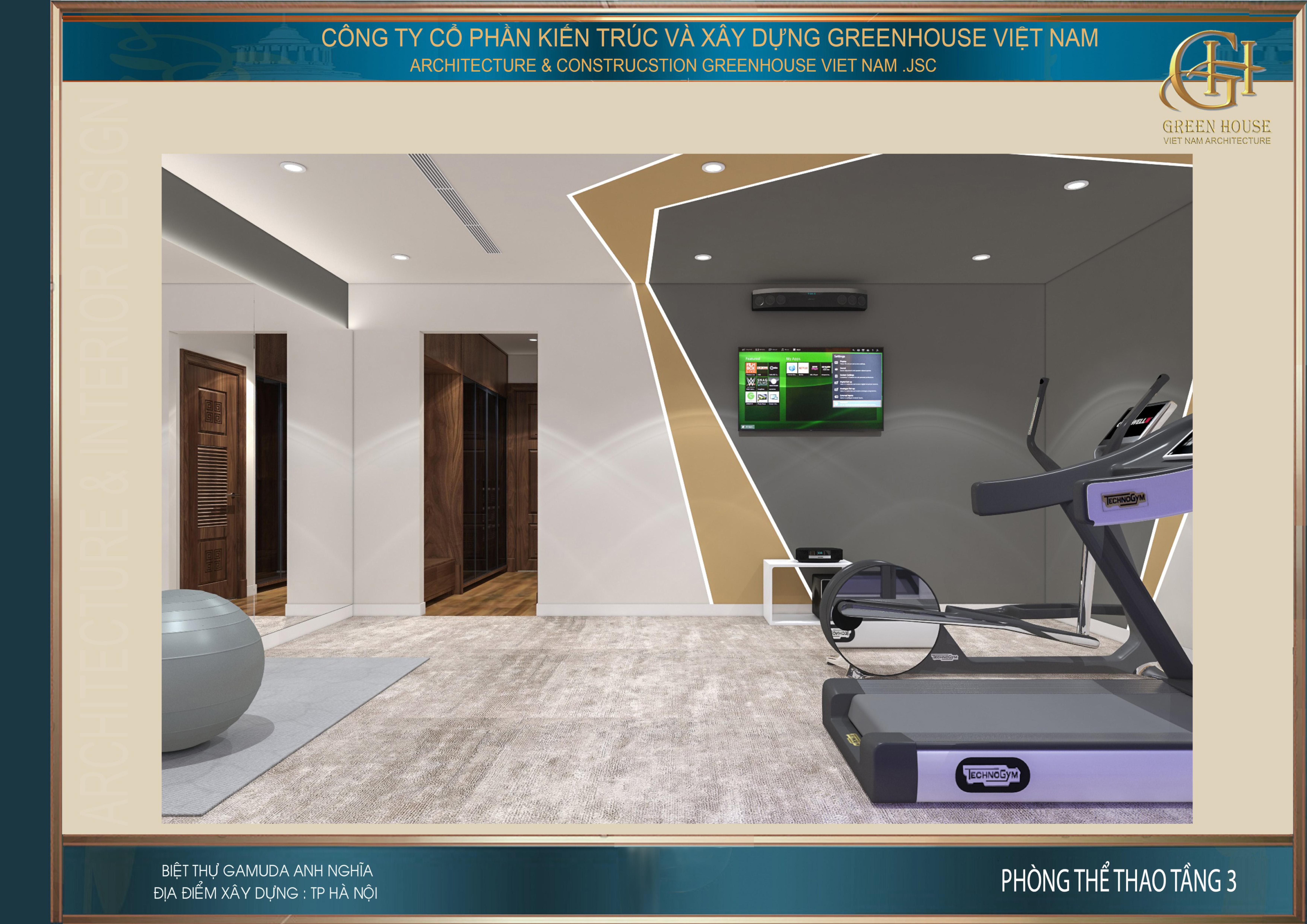 Không gian riêng dành cho gia chủ tập thể dục