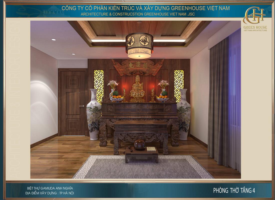 Thiết kế nội thất phòng thờ của biệt thự hiện đại tại Hà Nội
