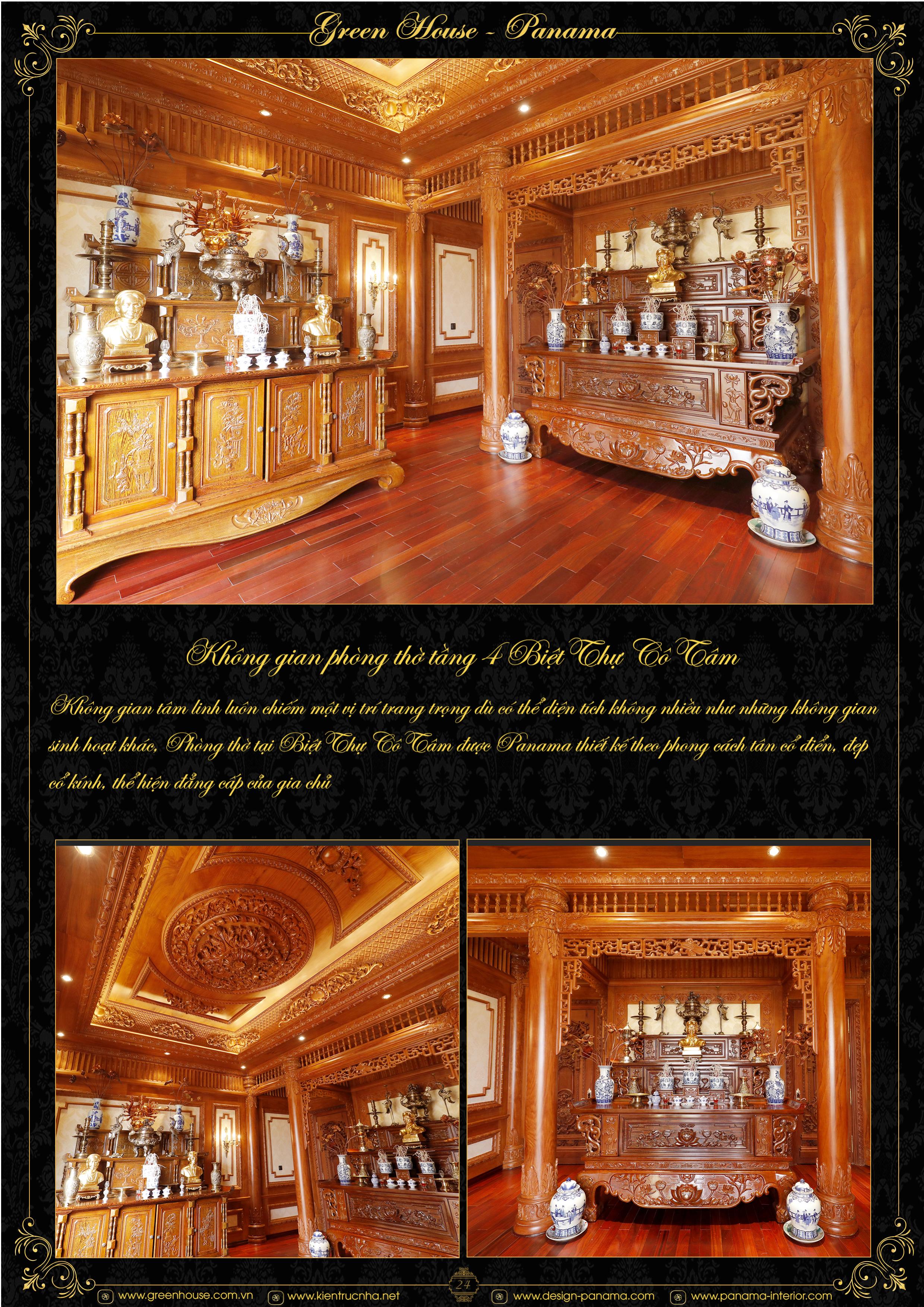 Mẫu thiết kế nội thất phòng thờ đẹp hoàn hảo tại Kiến trúc nội thất Green House - Panama