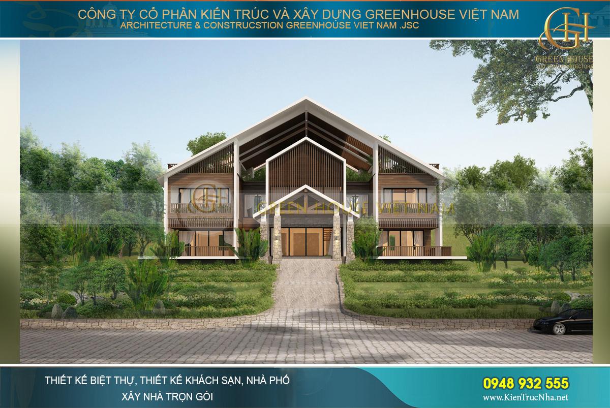 Phối cảnh mặt tiền của biệt thự hiện đại 2 tầng tại Bắc Giang với vẻ đẹp hút hồn