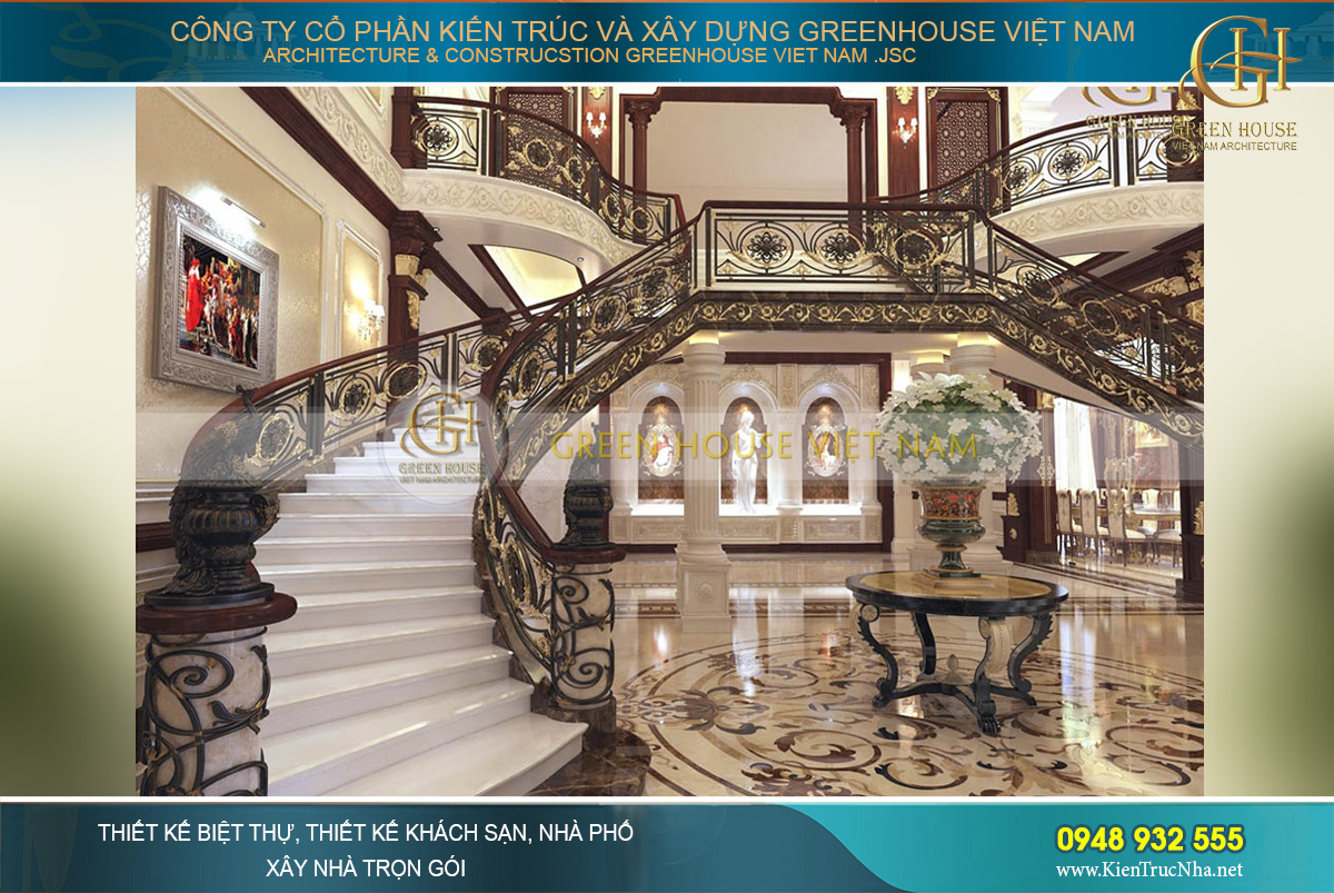 Cầu thang được thiết kế với hoa văn dày đặc nhưng theo một hệ thống và không hề rối mắt hay rườm rà