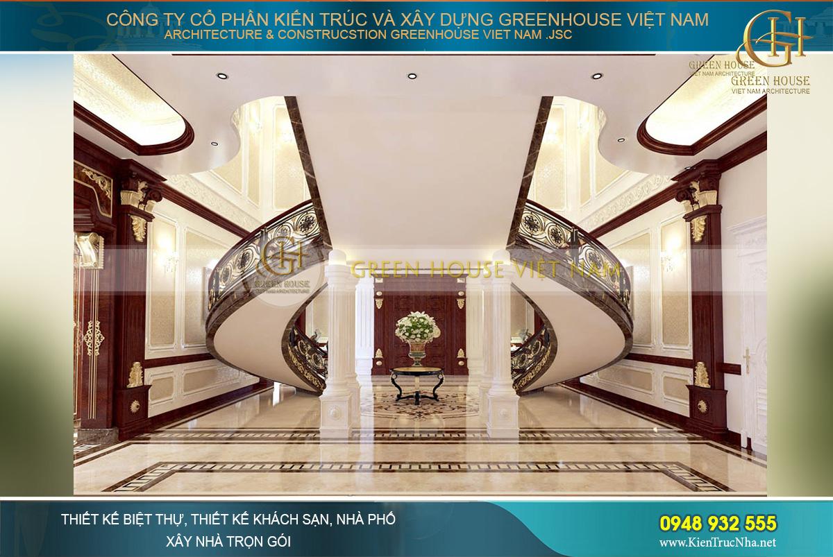 Khung cảnh phía sau đại sảnh và cầu thang của biệt thự với thiết kế đăng đối cùng tỷ lệ hoàn mỹ