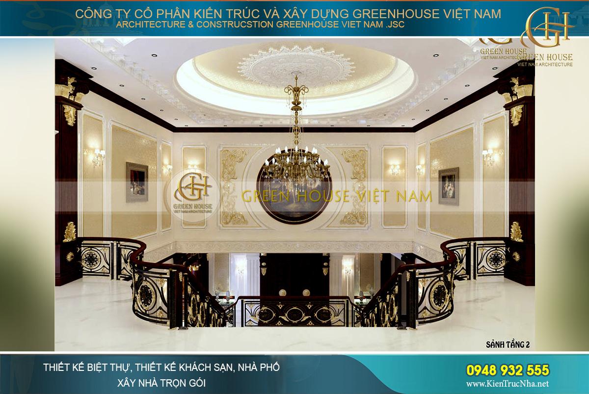 Thiết kế sảnh tầng 2 với kiến trúc thông tầng cùng vẻ đẹp choáng ngợp của những họa tiết, hoa văn phào chỉ đắp nổi mạ vàng