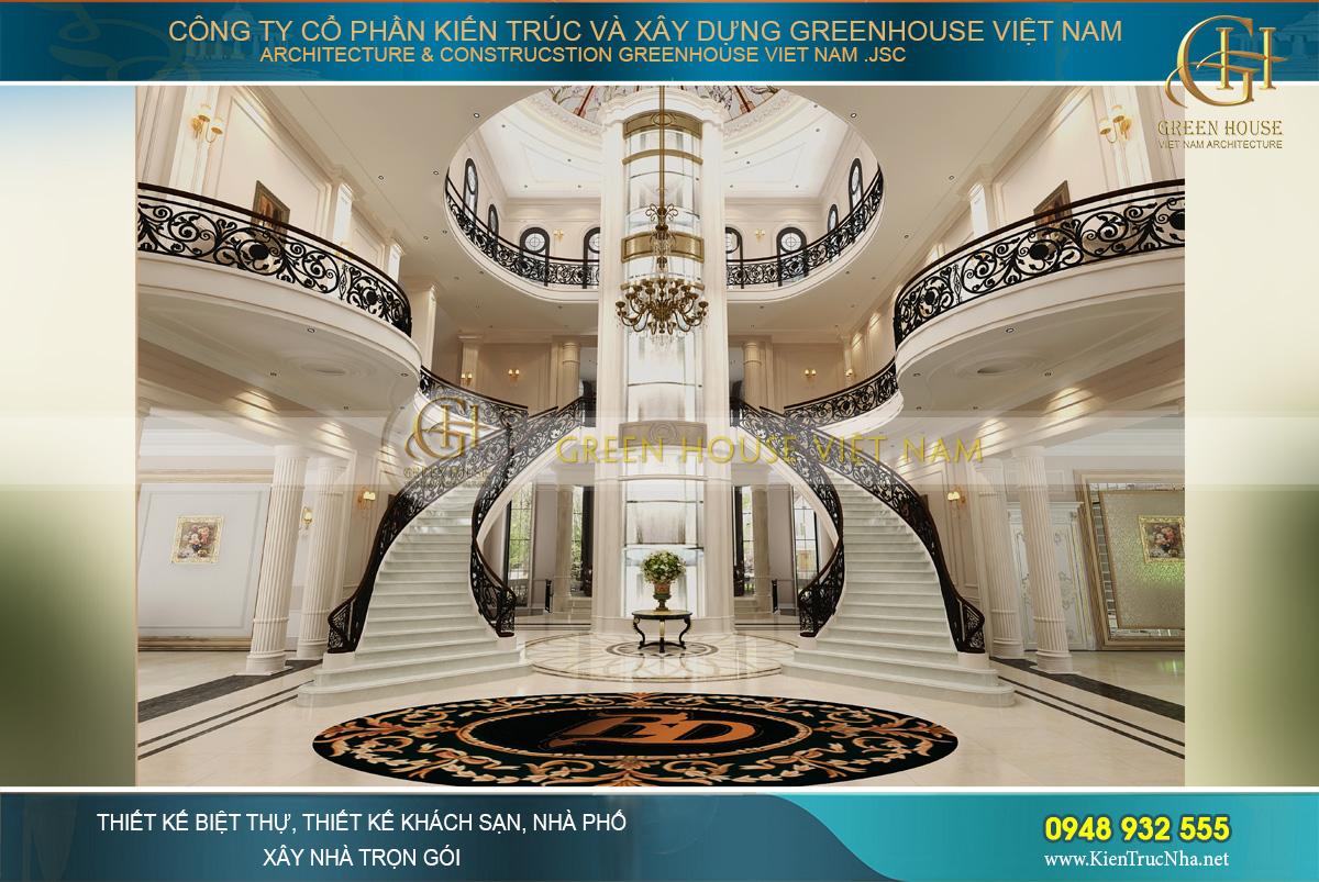 Không gian đại sảnh đẹp đến ngỡ ngàng với hai cầu thang bộ đối xứng và hệ thống thang máy kính