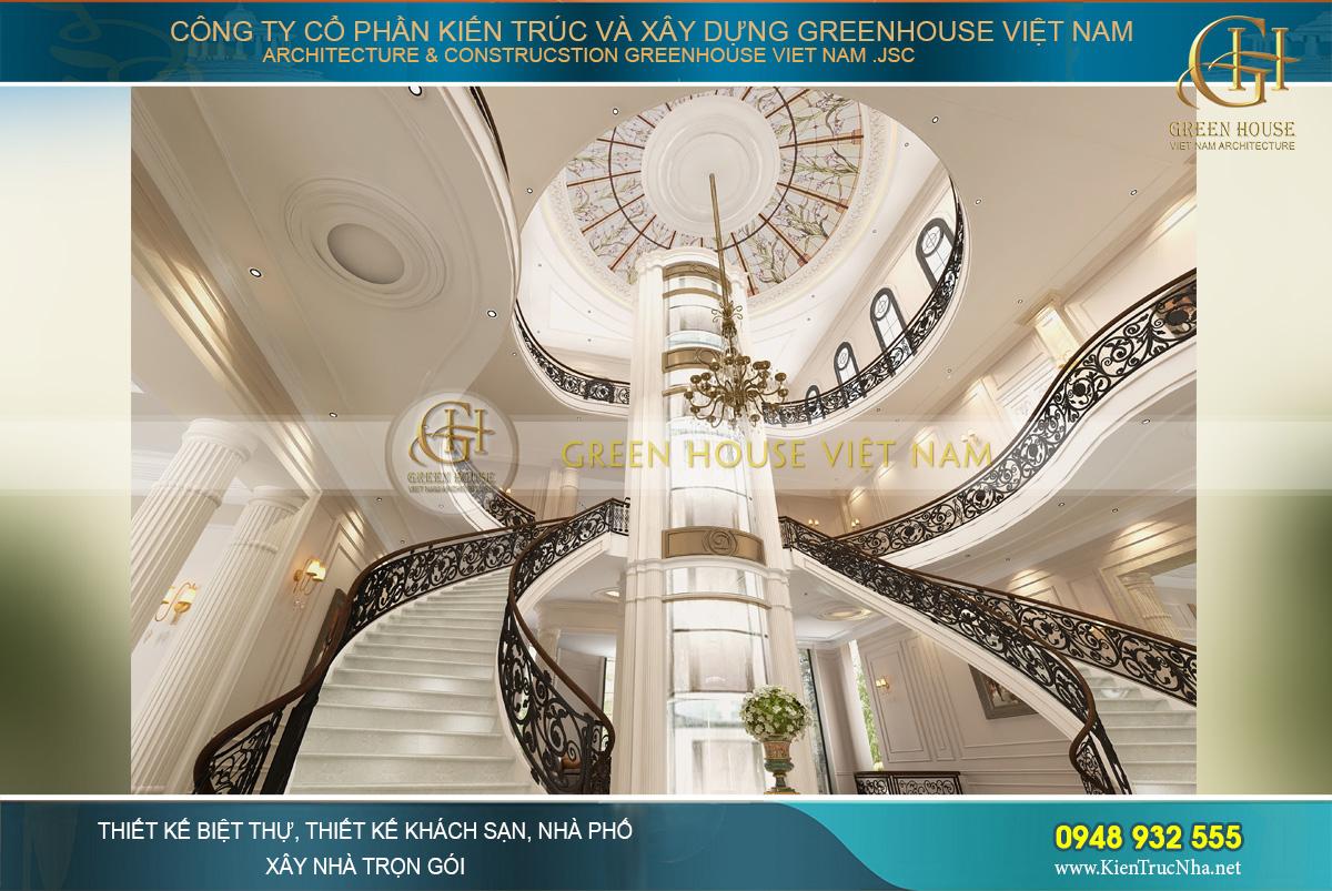 Đại sảnh là khoảng thông tầng từ tầng 1 đến tầng 3, tạo lên không gian cao vút và choáng ngợp