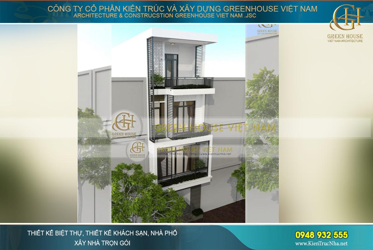 Nhà phố 4 tầng mặt tiền 5m được thiết kế với sự phối hợp khéo léo của gam màu trắng – nâu – đen hiện đại