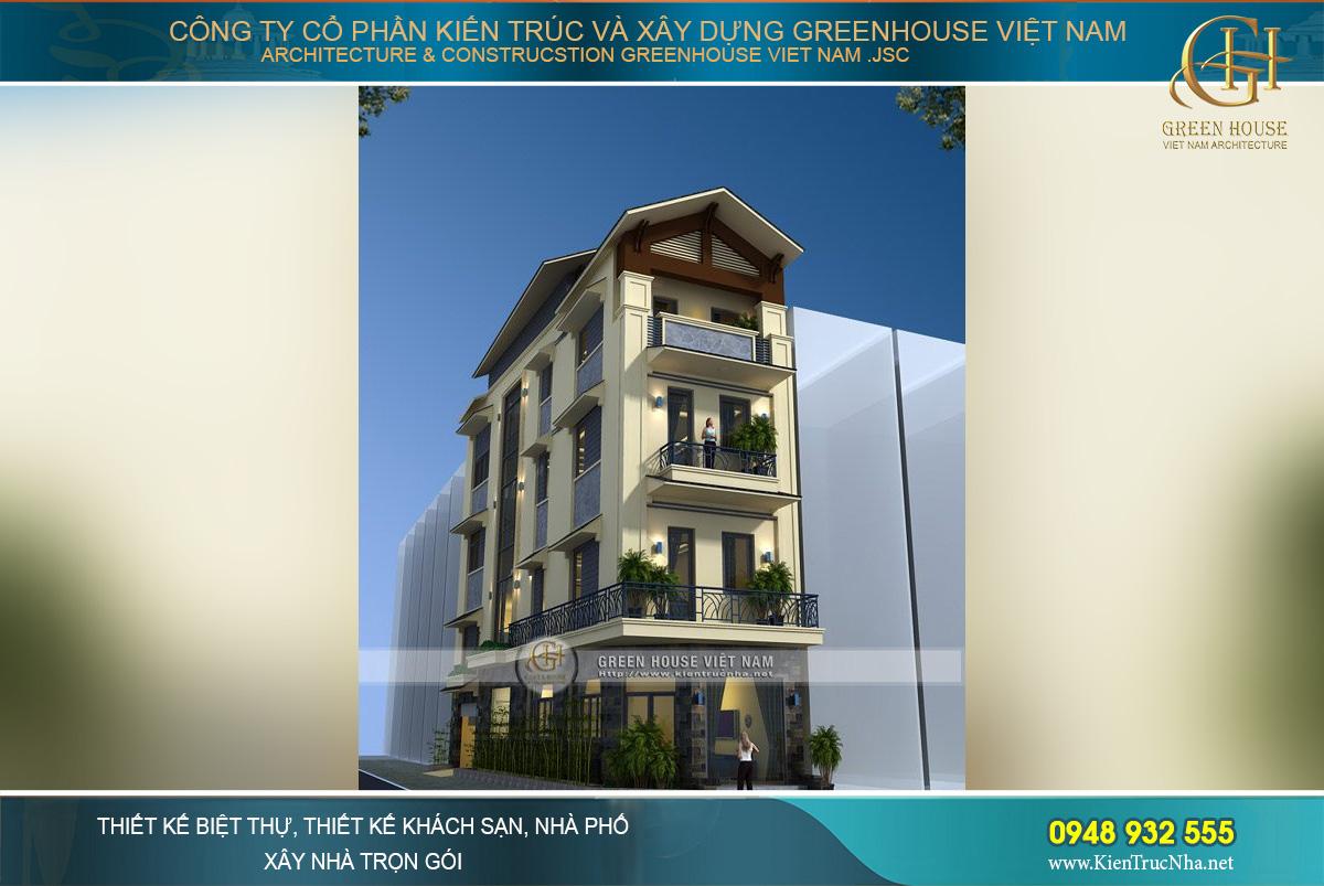 Kiến trúc mặt tiền sang trọng và bề thế của ngôi nhà ống 4 tầng rưỡi tại Bắc Ninh