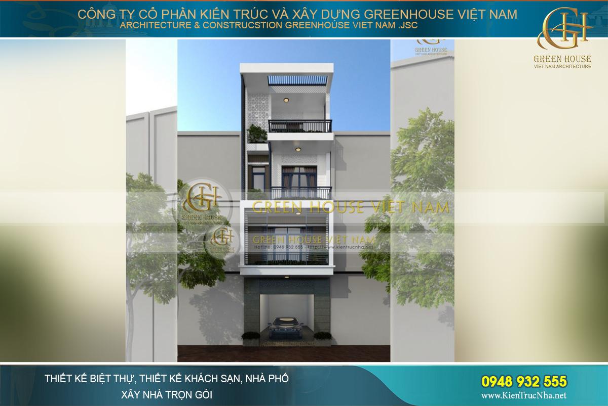 Mẫu thiết kế nhà phố 4 tầng mặt tiền 5m phong cách hiện đại tại Bắc Ninh