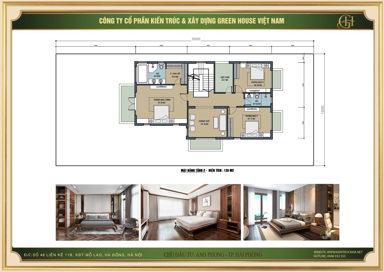 Mặt bằng tầng 2 bố trí 3 phòng ngủ, phòng thờ và các khu phòng tắm, vệ sinh khép kín