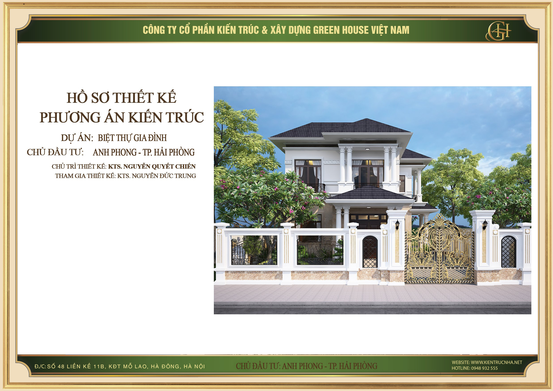 Thiết kế biệt thự 2 tầng tân cổ điển đẹp - CĐT anh Phong tại Hải Phòng