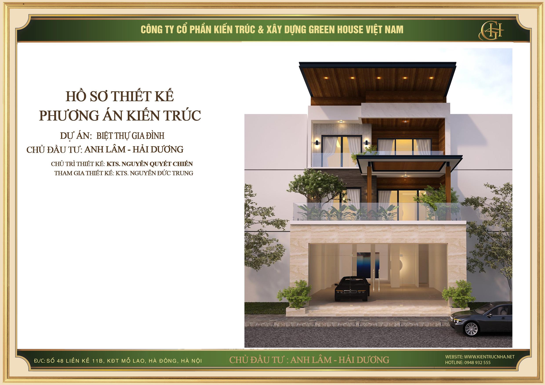 Thiết kế biệt thự hiện đại 3 tầng đẹp tại Hải Dương - CĐT Anh Lâm