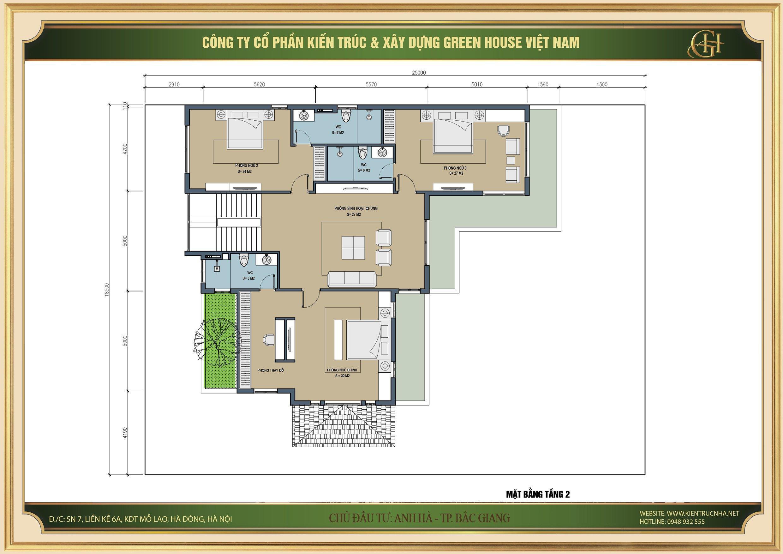 Thiết kế mặt bằng và công năng sử dụng của tầng 2 biệt thự tân cổ điển tại Bắc Giang