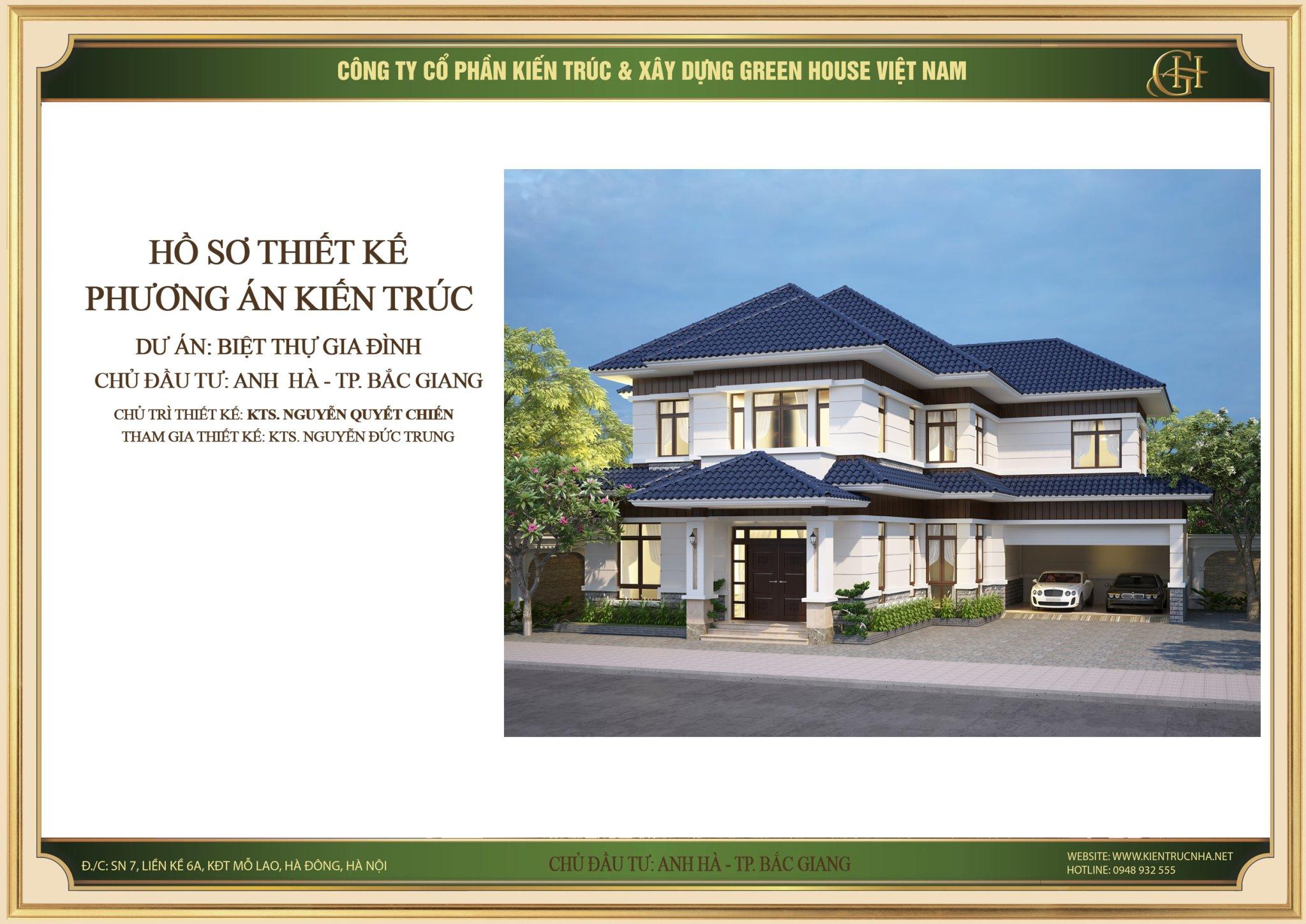 Thiết kế biệt thự tân cổ điển 2 tầng đơn giản tại Bắc Giang - CĐT Anh Hà