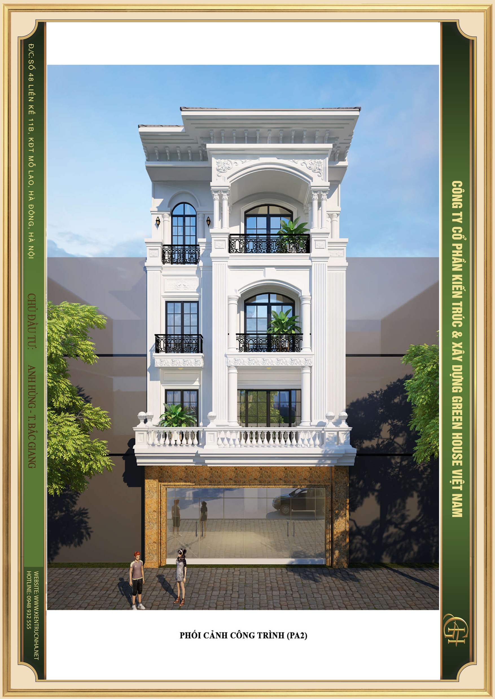 Thiết kế nhà phố 4 tầng phong cách tân cổ điển nhẹ nhàng tinh tế