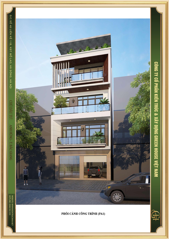Thiết kế nhà phố hiện đại 4 tầng khỏe khoắn hình khối độc đáo đầy bắt mắt