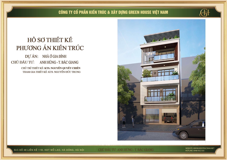 Thiết kế nhà phố 4 tầng sáng tạo tại Bắc Giang – CĐT Anh Hùng