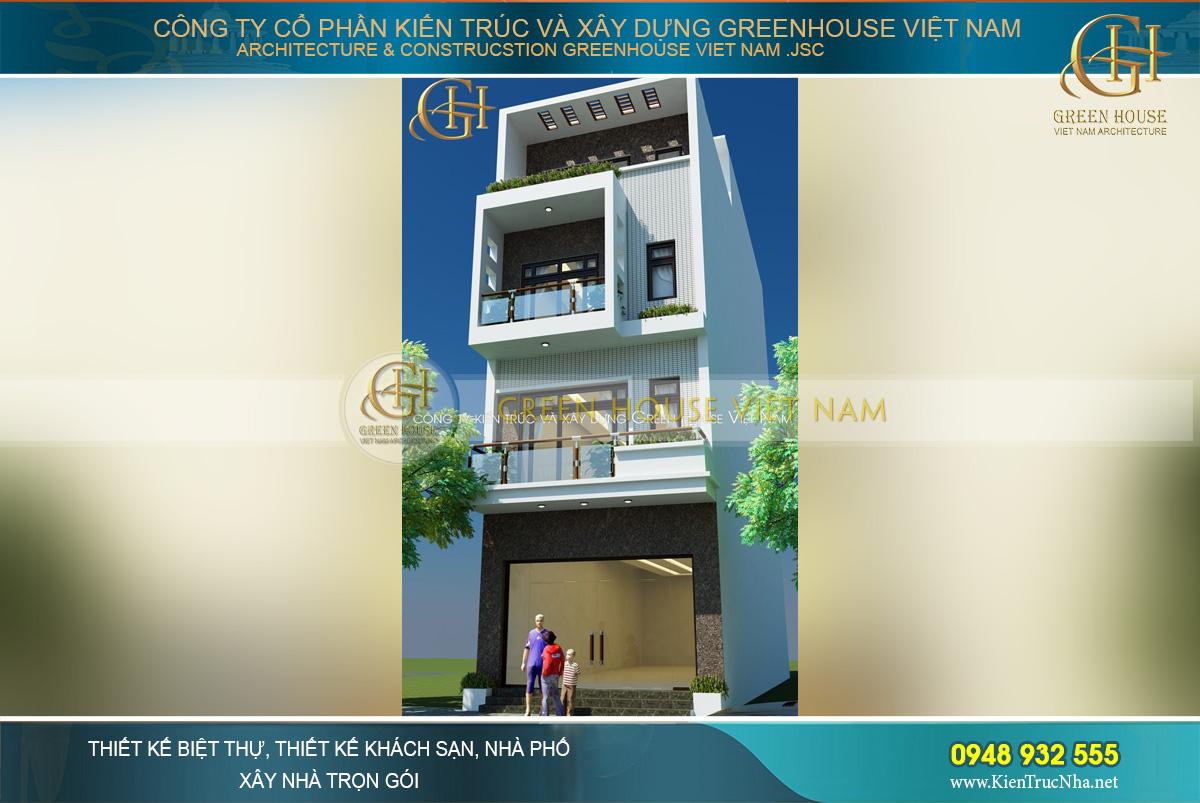 Diện tích mặt tiền nhà phố 4 tầng được phân chia một cách hợp lý, đáp ứng yêu cầu của gia chủ