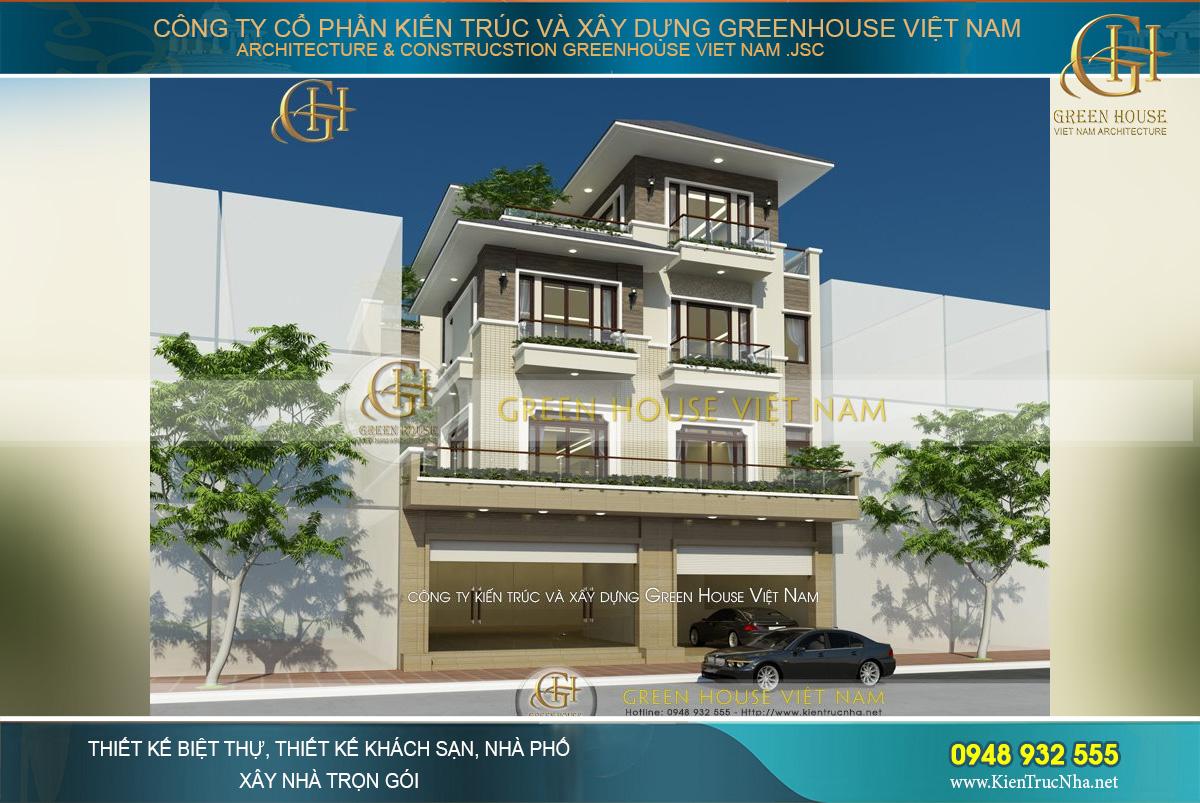 Ngôi nhà phố 4 tầng hiện đại của gia đình anh Kiên được Green House Việt Nam xây dựng chắc chắn và kiên cố