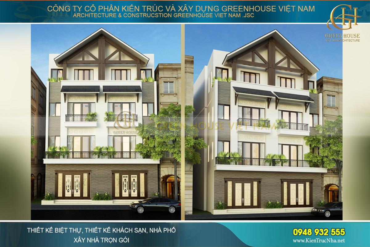 Phối cảnh mặt tiền của nhà phố song lập 4 tầng hiện đại tại Hải Phòng