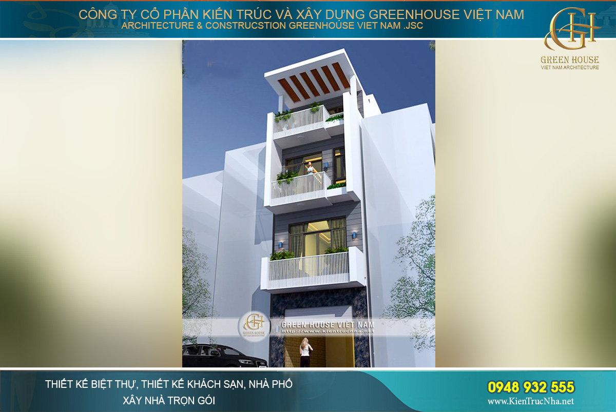 Phối cảnh mặt tiền của nhà ống hiện đại 4 tầng tại Hà Nội