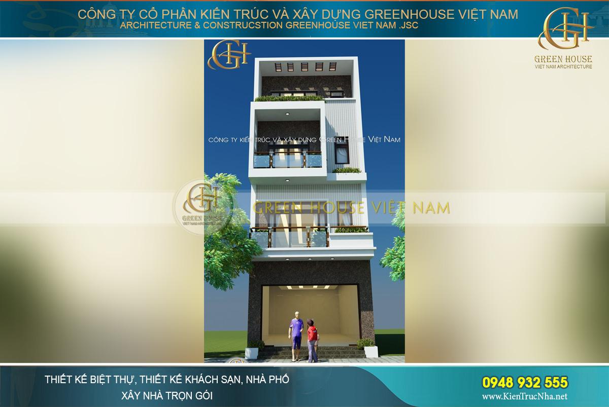 Hình ảnh tổng quan thiết kế 3D mặt tiền nhà phố 4 tầng tại Bắc Giang
