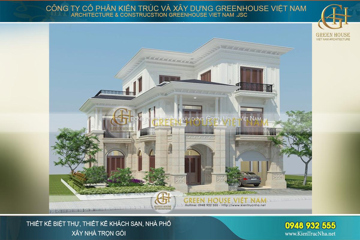 Biệt thự được thiết kế với tông màu trắng tinh khôi, sang trọng đặc trưng của lối kiến trúc cổ điển Pháp