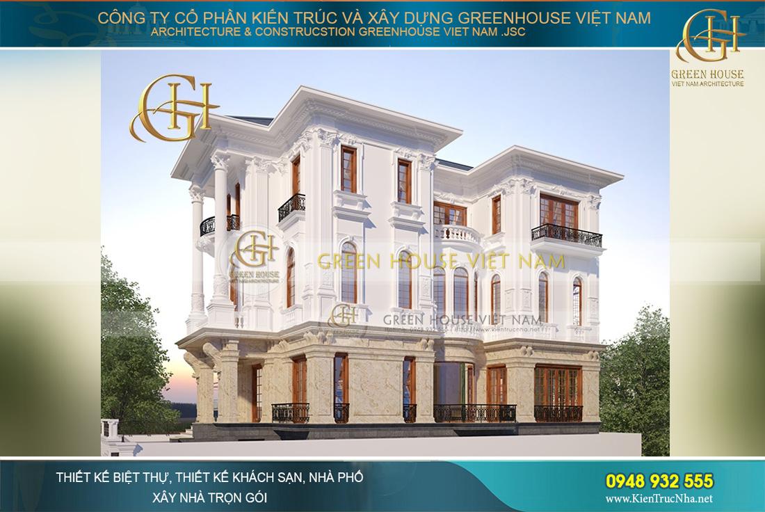 Mẫu thiết kế biệt thự tân cổ điển 3 tầng đẹp lãng mạn nhất tại Bắc Giang