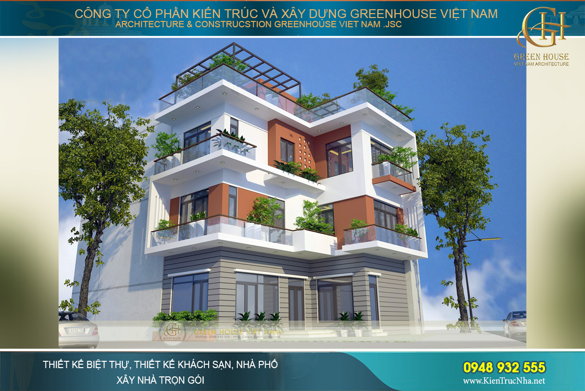 Mẫu nhà phố 4 tầng mặt tiền 8m được thiết kế theo phong cách hiện đại, khỏe khoắn