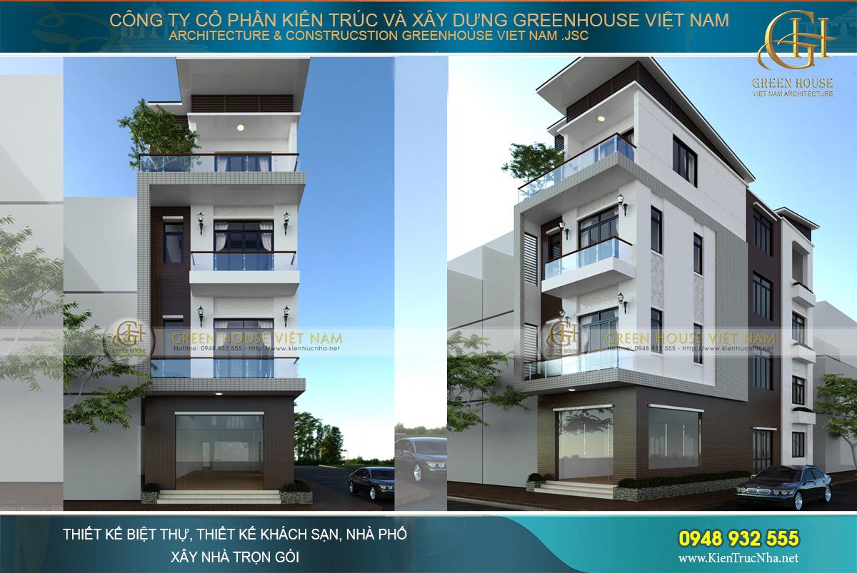Phối cảnh nhà phố kết hợp kinh doanh 4 tầng mặt tiền 5.4m