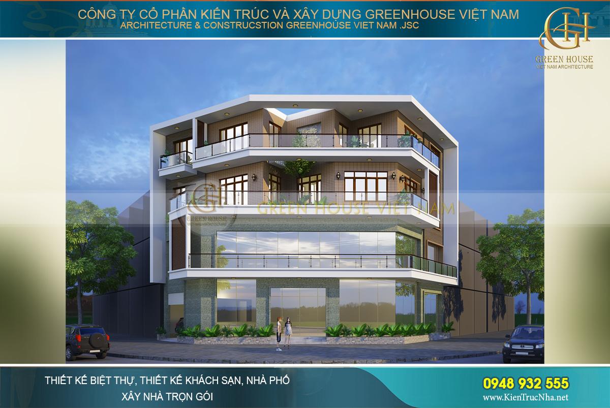 Phối cảnh ngoại thất với kiến trúc độc đáo, mới lạ của biệt thự hiện đại 4 tầng tại Hà Nội