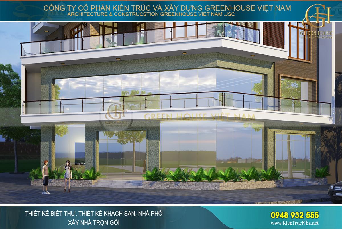 Kiến trúc tầng 1 và tầng 2 với chất liệu kính gần như bao phủ toàn bộ