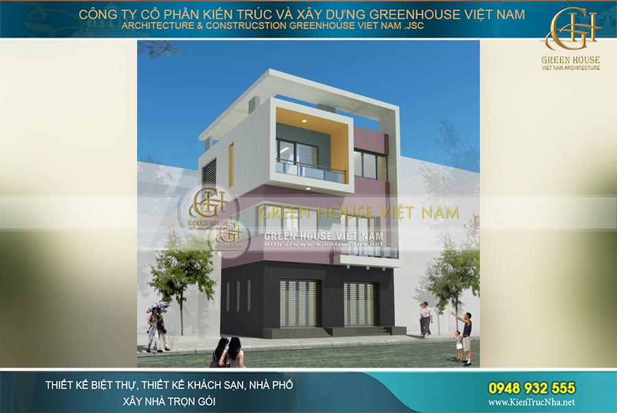 Kiến trúc mặt tiền vuông trẻ trung của ngôi biệt thự 3 tầng tại Bắc Giang
